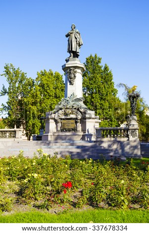 WARSAW, POLAND - OCTOBER 10, 2015: Adam Mickiewicz statue by Cyprian Godebski unveiled on December 24, 1898, removed in 1942 by the Germans, once again unveiled January 28, 1950 - stock photo