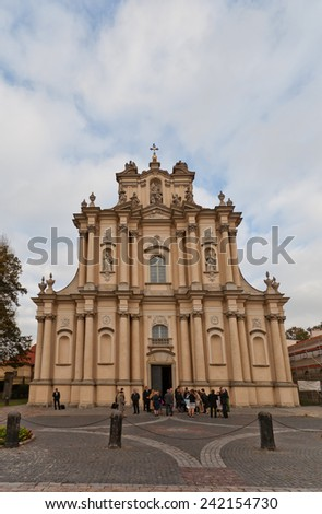 WARSAW, POLAND - OCTOBER 18, 2014: Church of St. Joseph of the Visitationists (circa 1761) in Warsaw, Poland. Architect Karol Antoni Bay