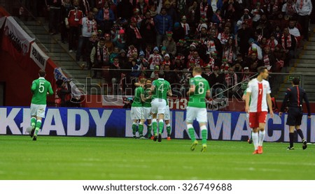 WARSAW, POLAND - OCTOBER 11, 2015: EURO 2016 European Championship Qualifing Round France Poland - Republic of Ireland