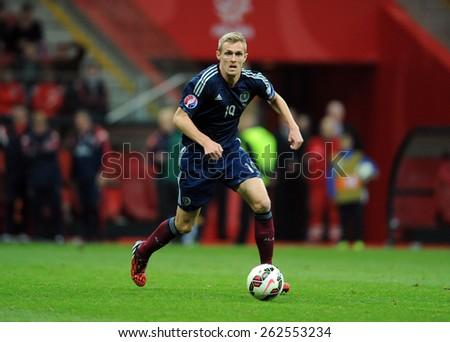 WARSAW, POLAND - OCTOBER 14, 2014: EURO 201 Football Cup Qualifiers Scotland vs Scotlando/p: Darren Fletcher  - stock photo