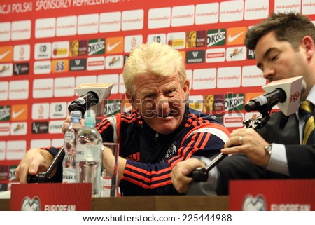 WARSAW, POLAND - OCTOBER 13, 2014: Gordon Strachan, head coach of the Scotland national football team attends a press conference before the UEFA EURO 2016 qualifying match of Poland vs. Scotland - stock photo