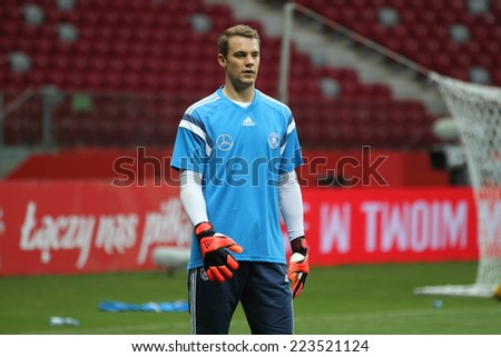 WARSAW, POLAND - OCTOBER 10, 2014: Manuel Neuer, German national football team and Bayern Munich goalkeeper at the last training before the UEFA EURO 2016 qualifying match of Poland vs. Germany. - stock photo