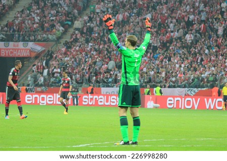 WARSAW, POLAND - OCTOBER 11, 2014: Manuel Neuer in action (German team and Bundesliga club Bayern Munich goalkeeper) during the UEFA EURO 2016 qualifying match of Poland vs. Germany - stock photo