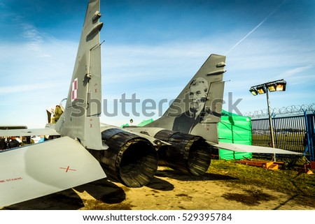 WARSAW, POLAND - OCTOBER 14: Polish Airforce MIG-29 parked at Warsaw airport Okecie on 14th October 2016 in Warsaw, Poland.