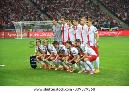 WARSAW, POLAND - OCTOBER 11, 2014: Polish football team before the UEFA EURO 2016 qualifying match of Poland vs. Germany.  - stock photo