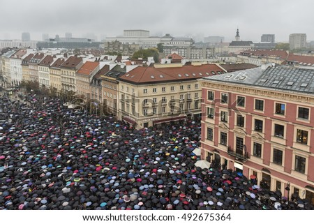 WARSAW, POLAND - OCTOBER 03, 2016: Polish women donned black, boycotting jobs and classes as part of a nationwide strike to protest a legislative proposal for a total ban on abortion.