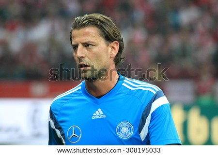 WARSAW, POLAND - OCTOBER 11, 2014: Roman Weidenfeller (German team and Bundesliga club Borussia Dortmund goalkeeper) before the UEFA EURO 2016 qualifying match of Poland vs. Germany.