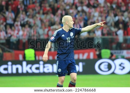 WARSAW, POLAND - OCTOBER 14, 2014: Steven Naismith (Scottish team and Premier League club Everton) during the UEFA EURO 2016 qualifying match of Poland vs. Scotland  - stock photo