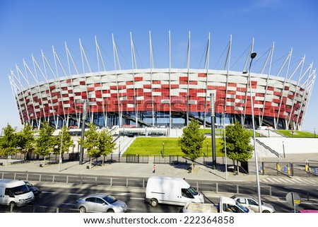 WARSAW, POLAND - OCTOBER 02, 2014: The National Stadium officially opened on January 29, 2012 build for Euro 2012 football competition in Warsaw in Poland  - stock photo