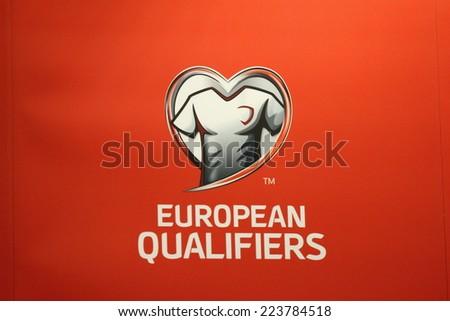 WARSAW, POLAND - OCTOBER 10, 2014: UEFA Euro 2016 qualifying logo. France qualify automatically as hosts of Euro 2016. - stock photo