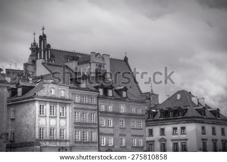 Warsaw, Poland. Old Town view in HDR. UNESCO World Heritage Site. Black and white tone - retro monochrome color style. - stock photo