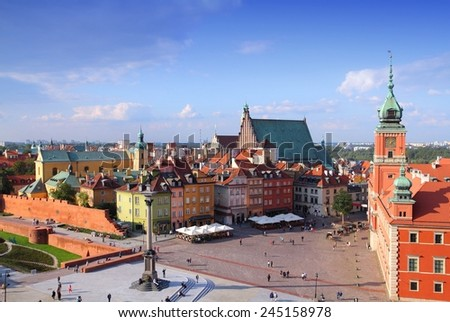 Warsaw, Poland. Old Town view of Castle Square (Plac Zamkowy) - UNESCO World Heritage Site. - stock photo