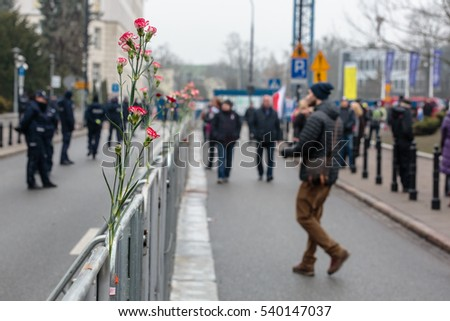 WARSAW, POLAND. 20.12.2016. Red Flower in Metal barriers set up in front of polish Parliament separate Protesters from Police Forces.