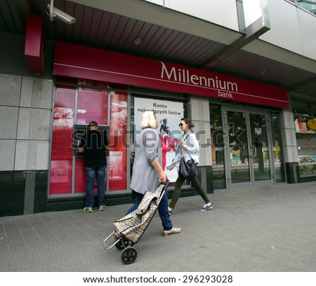 WARSAW, POLAND - SATURDAY, JUNE 6, 2015: An exterior view of Bank Millennium S.A. ?? Poland based commercial bank with headquarters in Warsaw.. - stock photo