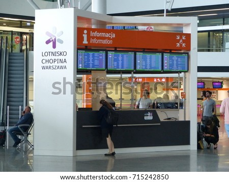 WARSAW, POLAND - SEPTEMBER 11, 2017:  A view of a information desk at the Warsaw Chopin Airport (WAW)