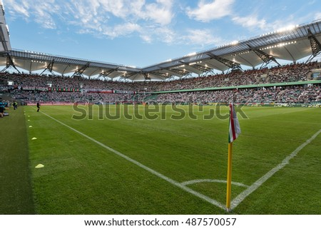 WARSAW, POLAND - SEPTEMBER 18, 2016: Match Polish PremIer League Lotto Ekstraklasa between Legia Warszawa - KGHM Zaglebie Lubin 2:3. Stadium of Legia.