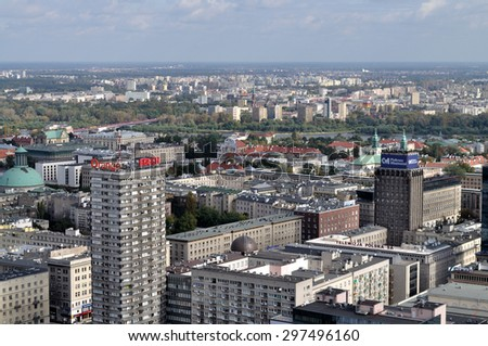 WARSAW, POLAND - SEPTEMBER 24: Panoramic view from the Palace of Culture and Science on the downtown, and the Praga Quarter, on the other side of the Vistula River, on September 24, 2009 in Warsaw - stock photo