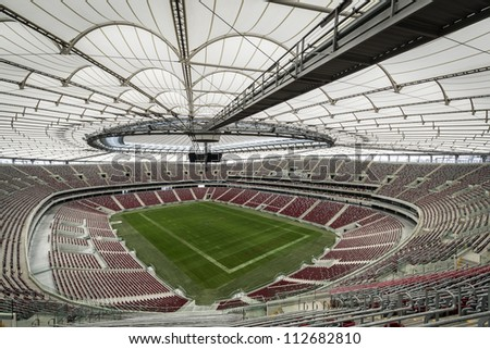 WARSAW, POLAND - SEPTEMBER 05: Presentation of the opening and closing the stadium roof, during Open Day at the National Stadium on September 05, 2012 in Warsaw, Poland. - stock photo