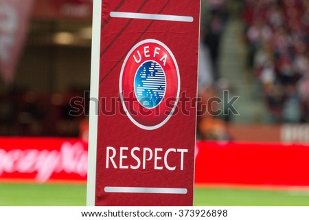 WARSAW, POLAND - SEPTEMBER 7, 2015: UEFA Respect action flag on the stadium before the UEFA EURO 2016 qualifying match of Poland vs. Gibraltar at the National Stadium in Warsaw, Poland.  - stock photo