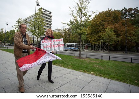 WARSAW, POLAND, SEPTEMBER 11: Unidentified Trade unionists during a demonstration the first day of the Polish national days of protest in Warsaw. Poland 2013. - stock photo