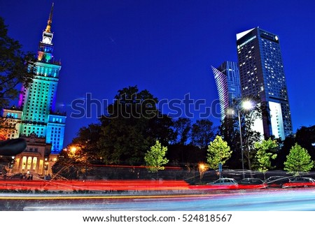 Warsaw,Poland. September 2016.View of city night