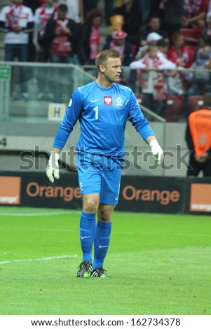 WARSAW - SEPTEMBER 6: Artur Boruc (Poland) during the 2014 World Cup qualification match between Poland and Montenegro at the National Stadium on September 6, 2013 in Warsaw, Poland.  - stock photo