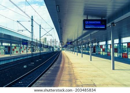 Warsaw Stadium - Railway Station - stock photo