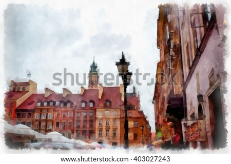 Warsaw watercolor illustration. Poland.