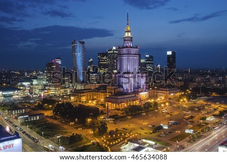 WARSHAW, POLAND - AUGUST 2.2016: The Palace of Culture and Science in Warsaw at night, aerial view of downtown business skyscrapers, city center.