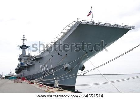 Warship at the harbor, Thailand - stock photo