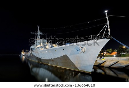 Warship Grom-class destroyer serving in the Polish Navy during World War II, currently preserved as a museum ship in Gdynia, Poland. - stock photo