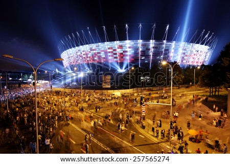 WARSOW, POLAND - SEPTEMBER 27, 2011: Illumination of the facade National Stadium in Warsaw , Poland. At this stadium will be the opening match of Euro 2012.