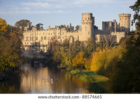 Warwick Castle-early autumn morning - stock photo