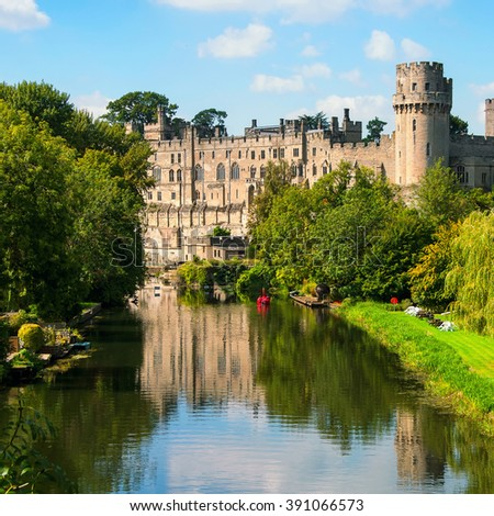 Warwick castle from outside. It is a medieval castle built in 11th century and a major touristic attraction in UK nowadays. Sunny day