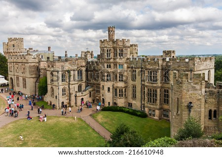WARWICK, UK - AUGUST 5:  View of Warwick castle  on August 5, 2014 in Warwick. Warwick Castle  is a medieval castle developed from an original built by William the Conqueror in 1068.