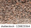 WARY CULTURE WALL Genuine antique wall exposed by archeology in Ayacucho, Peru - stock photo