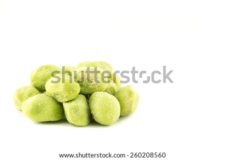 Wasabi coated peanut,Japan snack. - stock photo