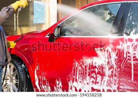 Wash a car - stock photo