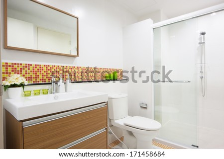 wash basin with drawer in toilet. - stock photo