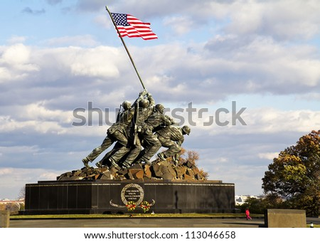 WASH DC - CIRCA NOV 2011: Iwo Jima Memorial circa NOV 2011 in Wash DC, USA. Memorial dedicated to all personnel of United States Marine Corps who have died in defense of their country since 1775. - stock photo