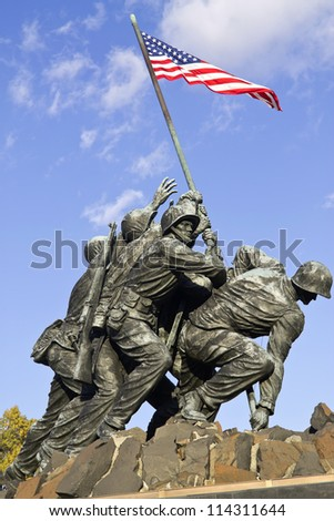 WASH DC - CIRCA SEP 2011: Iwo Jima Memorial circa SEP 2011 in Wash DC, USA. Memorial dedicated to all personnel of United States Marine Corps who have died in defense of their country since 1775. - stock photo