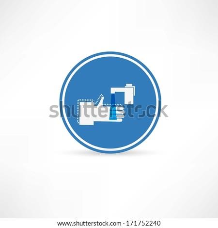 wash hands icon - stock photo