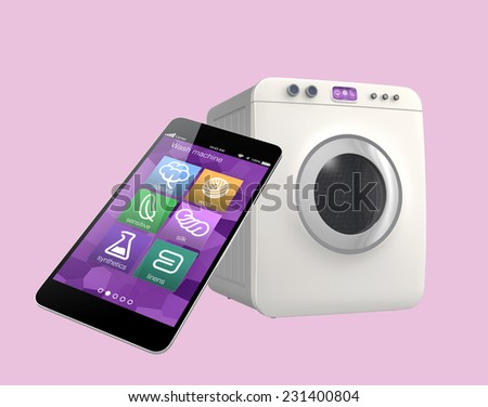 Wash machine controlled by smart phone, concept for IoT (Internet of things) - stock photo