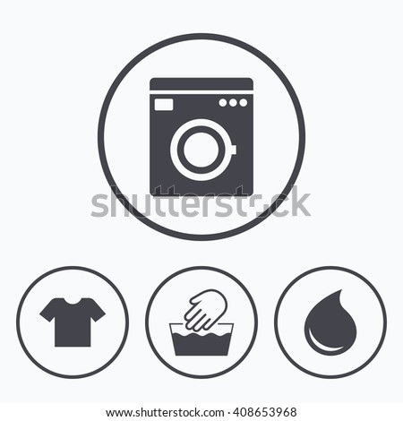 Wash machine icon. Hand wash. T-shirt clothes symbol. Laundry washhouse and water drop signs. Not machine washable. Icons in circles. - stock photo