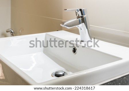 washbasin and faucet at home