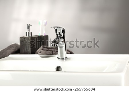 washbasin and soap and towel  - stock photo
