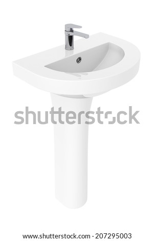 Washbasin with Chrome faucet on a white background