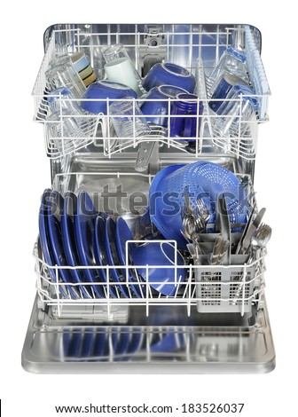 Washed dishes in the dish washer machine