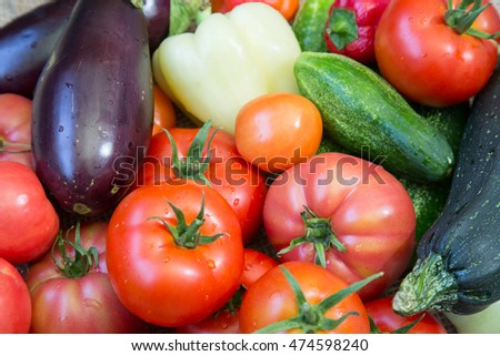 Washed vegetables background