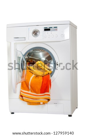 Washer and things to wash. A series of studio shots. Isolated on white background. - stock photo